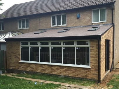 Lean to style home extension with solid roof, Northampton